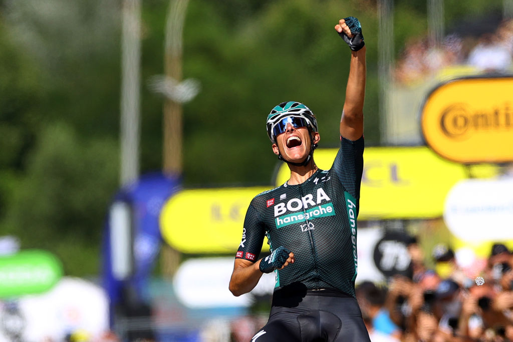 NMES FRANCE JULY 08 Nils Politt of Germany and Team BORA Hansgrohe stage winner celebrates at arrival during the 108th Tour de France 2021 Stage 12 a 1594km stage from SaintPaulTroisChateaux to Nimes LeTour TDF2021 on July 08 2021 in Nmes France Photo by Tim de WaeleGetty Images