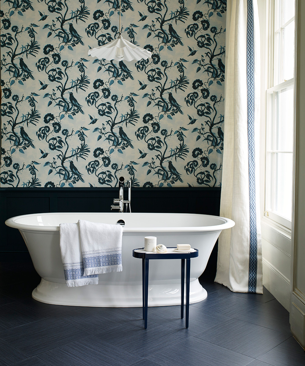Monochrome bathroom scheme with whimsical wallpaper | Homes & Gardens