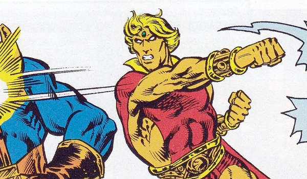 Adam Warlock punching Thanos