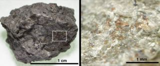 A rock fragment of Martian meteorite ALH84001 (left). An enlarged area (right) shows the orange-colored carbonate grains on the host orthopyroxene rock.