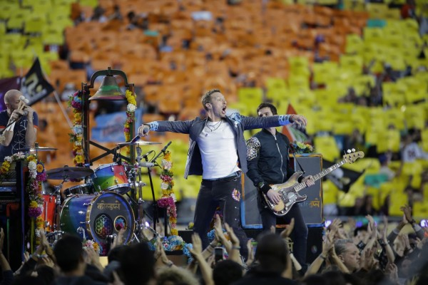 Coldplay singer Chris Martin performs during halftime of the NFL Super Bowl 50 football game between the Denver Broncos and the Carolina Panthers