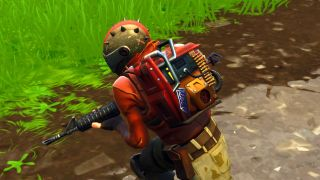 A Rust Lord wearing the Rust Bucket back bling in Fortnite Battle Royale.