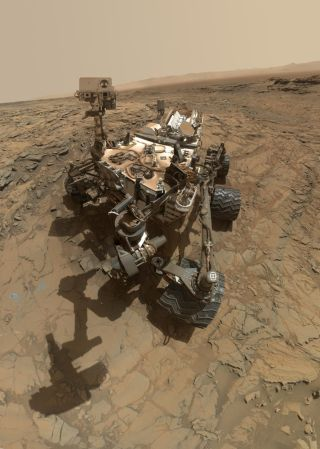 NASA's Curiosity Mars rover took photos of itself combined into this self-portrait on Oct. 6, 2015.