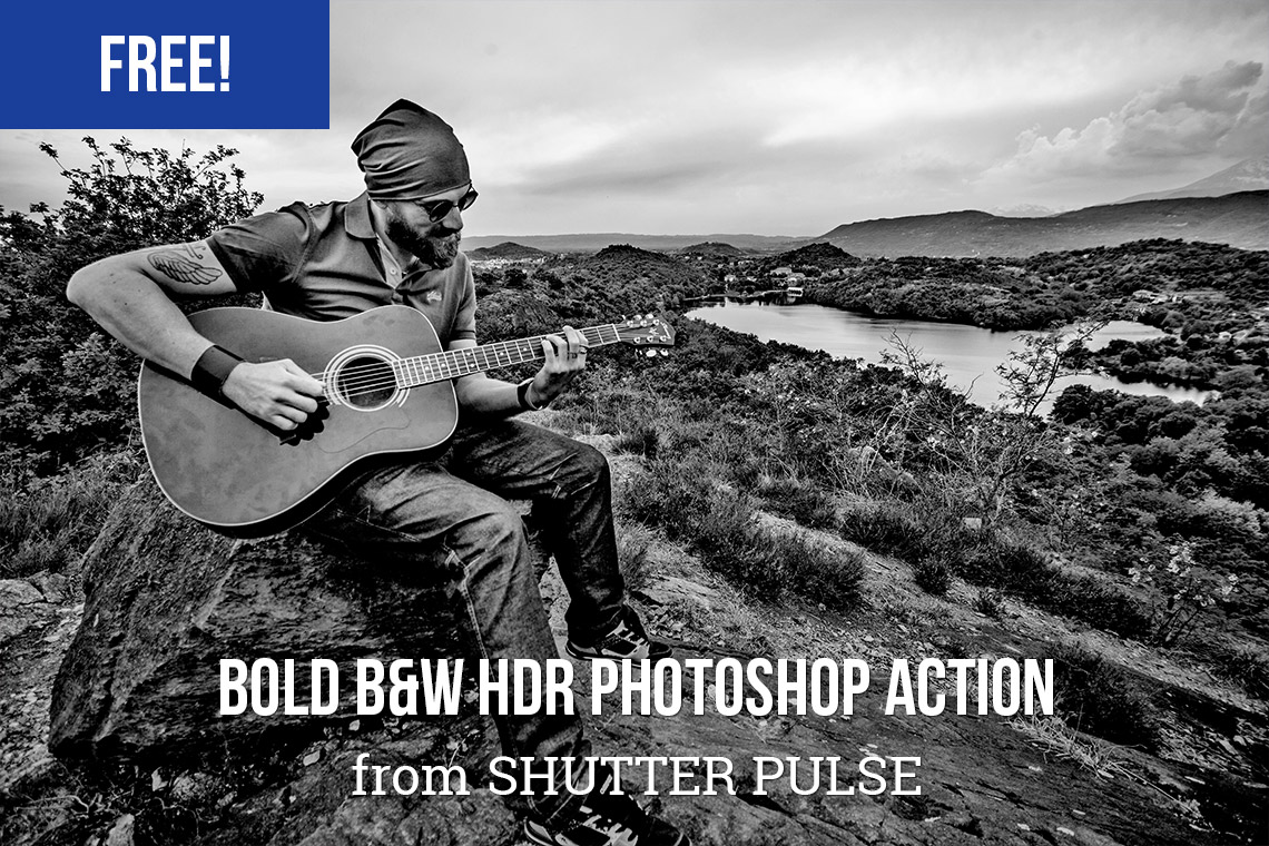 Free Photoshop actions: Bold B&W HDR