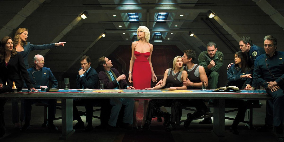 Battlestar Galactica The Last Supper with the crew