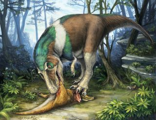 illustration showing Gorgosaurus eats Corythosaurus dinosaur