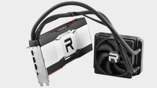 AMD RX 6900 XT Liquid-cooled graphics card on grey background