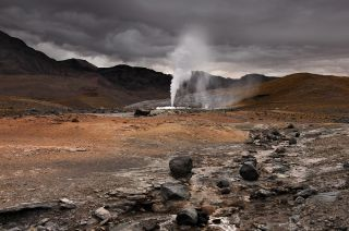A field of geysers called El Tatio located in northern Chile's Andes Mountains.
