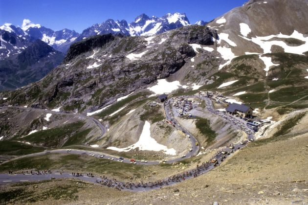 Cyclists climbs the Col du Galibier in the 1986 Tour de France