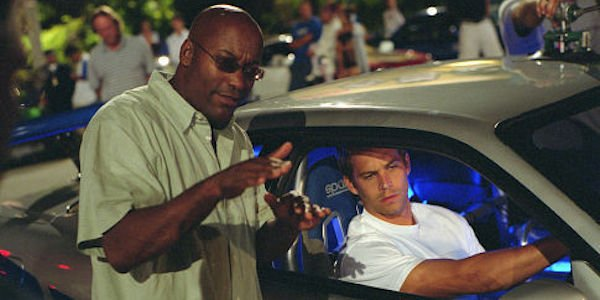 John Singleton and Paul Walker on the set of 2003's 2 Fast 2 Furious