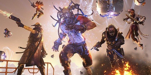 The cast of LawBreakers charges into battle.