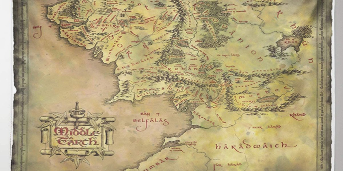 Lord Of The Rings Tapestry Featuring A Map Of Middle Earth