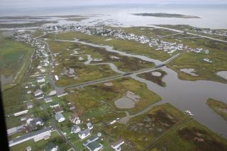 An aerial view of the town of Tangier on Tangier Island in Virginia's Chesapeake Bay.