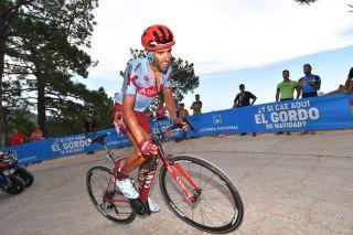 Katusha-Alpecin's Dani Navarro shows the spoils of a crash on stage 7 of the 2019 Vuelta a España