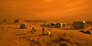 This concept design shows future astronauts on Mars. A new study shows how future astronauts might use local materials to make methane-based rocket fuel to get home.