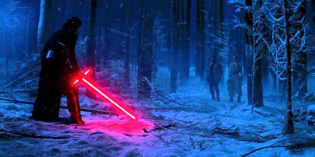 Kylo Ren about to have a lightsaber duel with Finn, then Rey