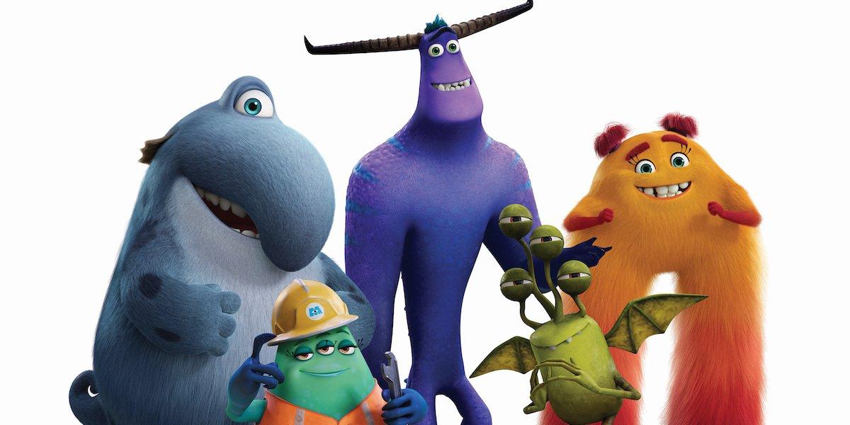 Monsters at Work press shot Fritz, Duncan, Tylor, Val Little, Cutter