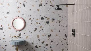 a wet room idea with a terrazzo wall tile