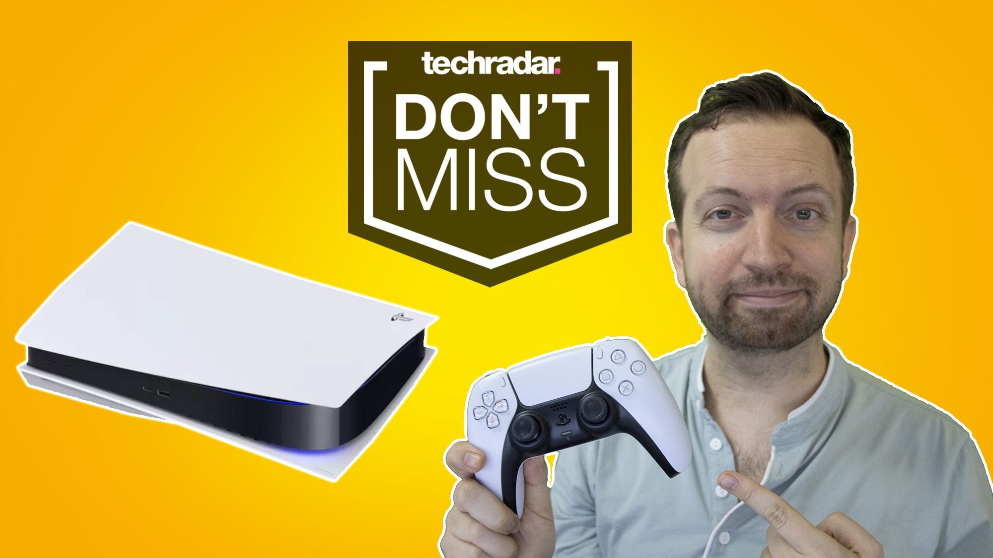 PS5 restock tracker Matt Swider holding a DualSense controller with the PS5 console against a yellow background