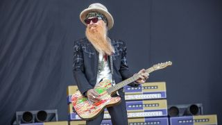 ZZ Top performs a live concert during the Swedish music festival Sweden Rock Festival 2019. Here singer and guitarist Billy Gibbons is seen live on stage.
