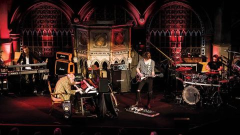 Robert John Godfrey on stage with The Enid at the Union Chapel