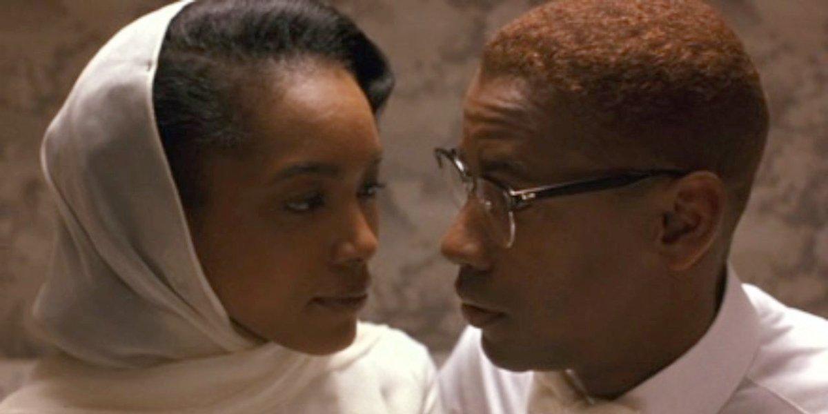 Angela Bassett and Denzel Washington in Malcolm X