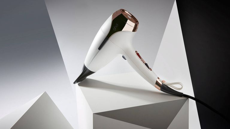GHD Helios: white hair dryer on display