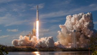 SpaceX's Falcon Heavy Rocket Lifts Off During An Afternoon Demonstration Launch