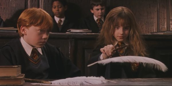 Ron Weasley observes Hemione Granger's mastering of spells enviously
