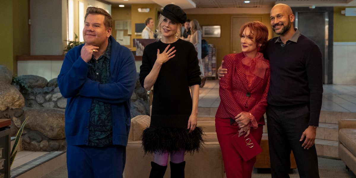 The Prom James Corden, Nicole Kidman, Meryl Streep, and Keegan-Michael Key all standing together with smiles