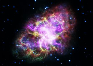 The Crab Nebula as seen by the Hubble Space Telescope and ground-based telescopes in a composite view. The nebula is the aftermath of a brilliant supernova spotted in 1054.