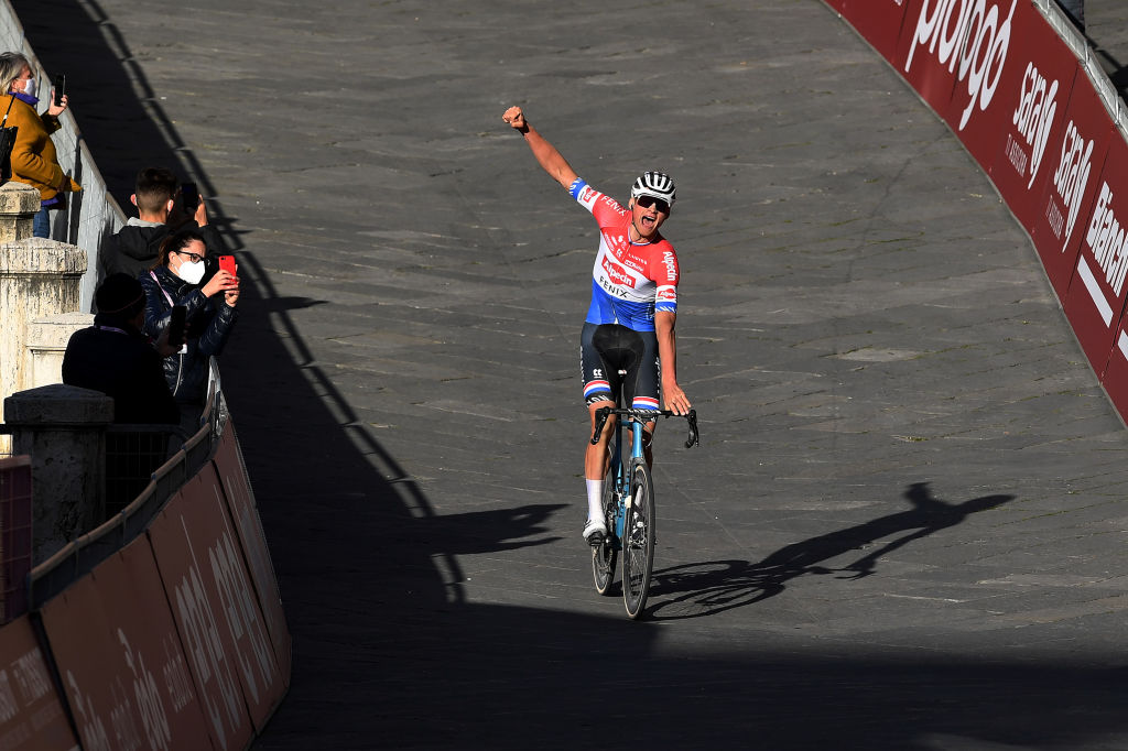 SIENA ITALY MARCH 06 Arrival Mathieu Van Der Poel of Netherlands and Team AlpecinFenix Celebration during the Eroica 15th Strade Bianche 2021 Mens Elite a 184km race from Siena to Siena Piazza del Campo StradeBianche on March 06 2021 in Siena Italy Photo by Tim de WaeleGetty Images