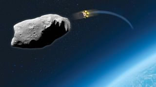 A repurposed telecommunication satellite about to hit an asteroid to safe humankind from extinction.