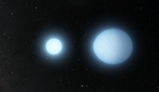 This still from a video illustration shows the stars swinging around each other. (The video, embedded below, is sped up to 120 times the actual speed of the stars.)
