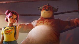Winnie McEvoy (Geraldine Viswanathan) and Steve (Will Arnett) in the Rumble trailer