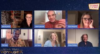 """The cast of """"Star Trek: Voyager"""" meets for a virtual reunion on the YouTube show """"Stars in the House,"""" on May 26, 2020."""