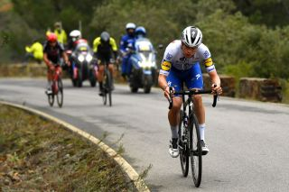 Deceuninck-QuickStep's Rémi Cavagna goes it alone from the break on stage 16 of the 2020 Vuelta a España, and was only caught two kilometres from the finish in Ciudad Rodrigo