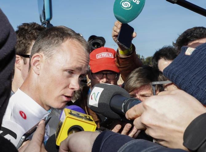 Chris Froome faces questions before the start of stage 1 of the Ruta del Sol