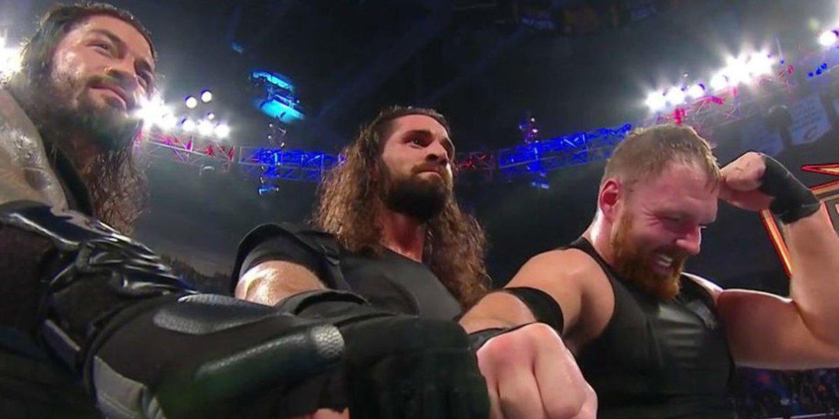 Roman Reigns, Seth Rollins, and Dean Ambrose at WWE Fastlane