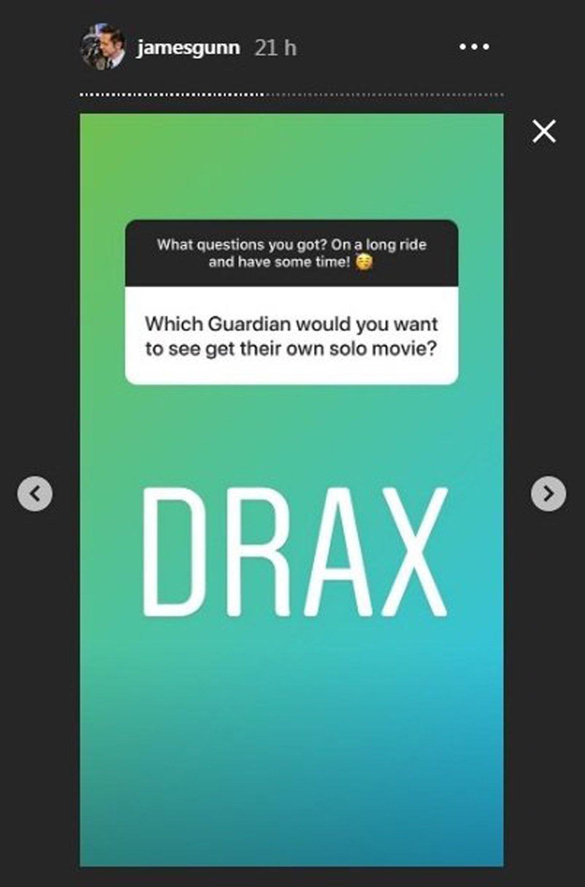 James Gunn Istagram Story Drax Marvel movie