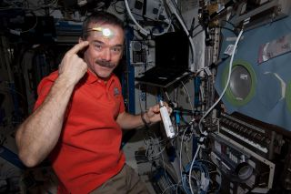 Canadian astronaut Chris Hadfield with temp test