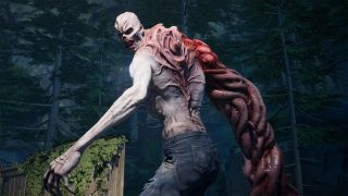 A crusher Ridden zombie from Back 4 Blood. One of its arms is a huge mass of twined muscle strands. It is looking over its shoulder at the viewer, the background is a dark evergreen forest.