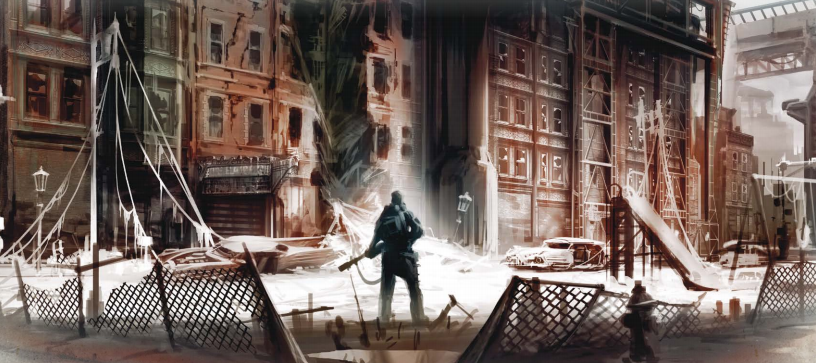 A piece of interior art from Fallout: The Roleplaying Game. A vault dweller surveys a ruined cityscape.