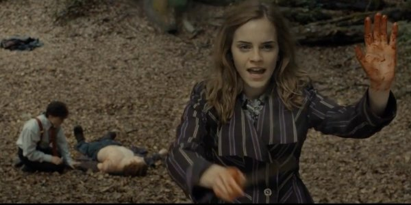 Hemione Granger protects a campsite for Harry Potter and Ron Weasley