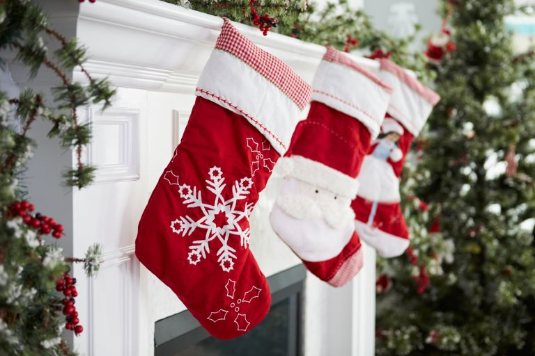 Christmas stockings on a fireplace