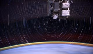 ISS Port Truss and Solar Panels with Star Trails