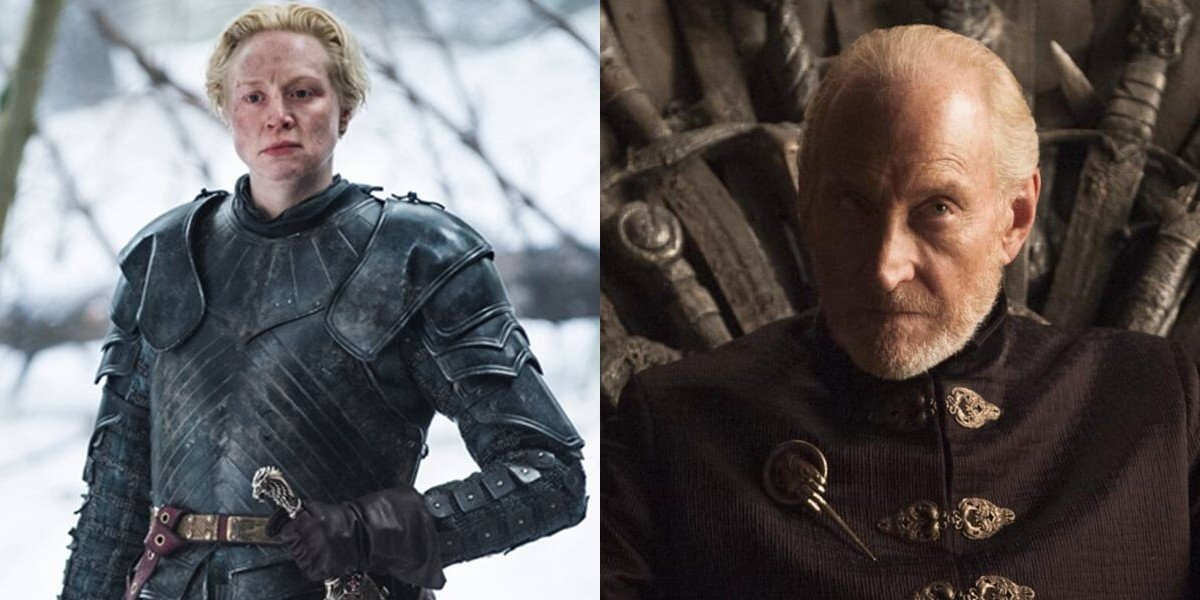 Gwendoline Christie on the left, Charles Dance on the right