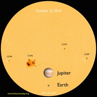 Jupiter-sized sunspot AR 12192