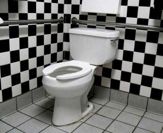 toilet in black-and-white tiled bathroom
