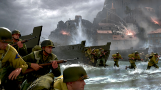 Soldiers landing on a beach